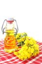 Rapeseed oil a bottle of and flowers against white background Stock Image