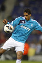 Raphael varane of real madrid before the spanish league match between espanyol and at the estadi cornella on may in Stock Image