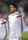 Raphael varane of real madrid during the spanish league match between espanyol and at the estadi cornella on may in Stock Image