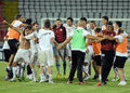Rapid bucharest players celebrate victory at the end of the romanian league relegation play off between and Stock Images
