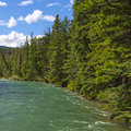 Rapid current river with a in a valley between mountains in jasper national park alberta canada Stock Image