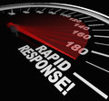 Rapid response speedometer emergency crisis service the words on a with needle racing to illustrate fast and arrival of help and Stock Photos