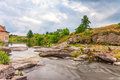 Rapid river in summer landscape Stock Image