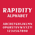 Rapidity alphabet vector font. Oblique letters and numbers Royalty Free Stock Photo
