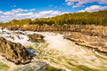 Rapids in the Potomac River at Great Falls Park, Virginia. Royalty Free Stock Photo