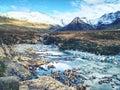 Rapids and small waterfall on River Coe, Glencoe Mountain Royalty Free Stock Photo