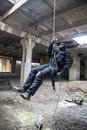 Rappeling assault Royalty Free Stock Photo
