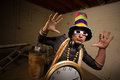 Rapper with d glasses musician large hat and indoors Stock Photo