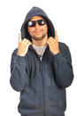 Rapper male gesturing with fingers man in hood isolated on white background Stock Photo