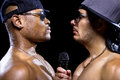 Rappers battle hip hop subculture between two with microphones Royalty Free Stock Photos