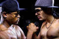 Rappers battle hip hop subculture between two with microphones Stock Photography