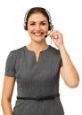 Rappresentante femminile talking on headset della call center Fotografie Stock Libere da Diritti