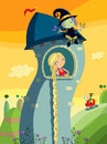 Rapunzel fairytale illustration girl looking tower s window evil witch observe her prince background Royalty Free Stock Photo