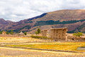 Raqchi inca archaeological site in cusco peru ruin of temple of wiracocha at chacha america south Stock Images