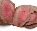 Rare roast beef carved slices of straight from the oven Royalty Free Stock Photography