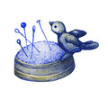 Rare vintage cast iron pincushion bird on nest. Royalty Free Stock Photo