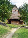 Rare wooden church in zuberec vertical view of open air museum of authentic orava village slovak múzeum oravskej dediny northern Royalty Free Stock Photo