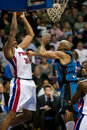 Rasheed wallace grabs a rebound of the detroit pistons is fouled during game against the charlotte bobcats at the the palace of Stock Photography