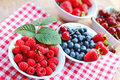 Raspberries and another organic berry fruits in bowls healthy food Royalty Free Stock Photography