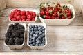 Raspberries, blueberries, blackberries and cherries in carton bo Royalty Free Stock Photo