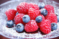 Raspberries and blueberries with powdered sugar Stock Images