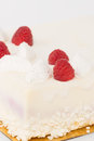 Raspberries cake fresh raspberry decorated with a white background Royalty Free Stock Photo