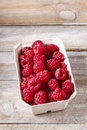 Raspberries in carton box Royalty Free Stock Photo