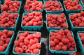 Raspberries at farmers market organic outdoor Royalty Free Stock Photo