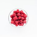 Raspberries in a glass bowl Royalty Free Stock Image