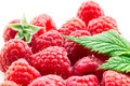 Raspberries with leaf Stock Photo