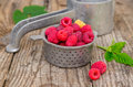 Raspberries in strainer ripe steel Royalty Free Stock Photography