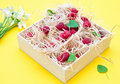 Raspberries in a wood box Royalty Free Stock Image