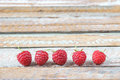 Raspberry arrange on old vintage wooden table red Stock Images