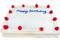 Raspberry birthday cake with white frosting isolated