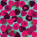 Raspberry and blackberry seamless pattern on the blue background Stock Photography