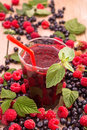 Raspberry blueberry smoothie fresh with mint Royalty Free Stock Image