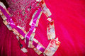 Raspberry bride with a bunch of paper-based bills of NIS 200 and 100 Royalty Free Stock Photo