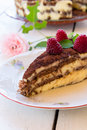 Raspberry cake delicious homemade garnished with raspberries and mint leaves Stock Images