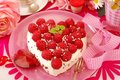Raspberry cake in heart shape Royalty Free Stock Images