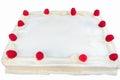 Raspberry cake with white frosting isolated fresh raspberries garnishing Royalty Free Stock Photo