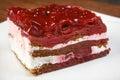 Raspberry cake on a white plate Stock Photos