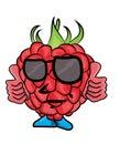 Cheerful Raspberry Cartoon Character
