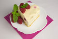 Raspberry cheesecake flavored with earl grey tea and lemon zest Royalty Free Stock Photography