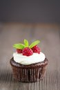 Raspberry chocolate cupcakes on wooden background Stock Photos
