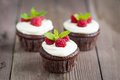 Raspberry chocolate cupcakes on wooden background Stock Images