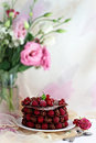 Raspberry chocolate dessert summer french Stock Image