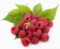Raspberry with green leaf Stock Photo