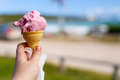 Raspberry ice cream in a fresh waffle cone Royalty Free Stock Photo