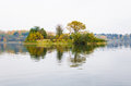 Raspberry island on lake Senezh in Solnechnogorsk fall in the fog in calm weather Royalty Free Stock Photo