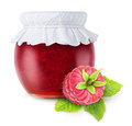 Raspberry jam over white background Stock Photos